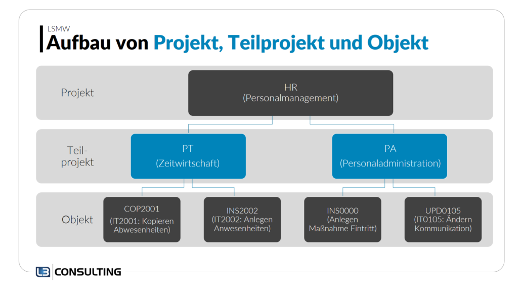 LSMW: Projekt, Teilprojekt und Objekt