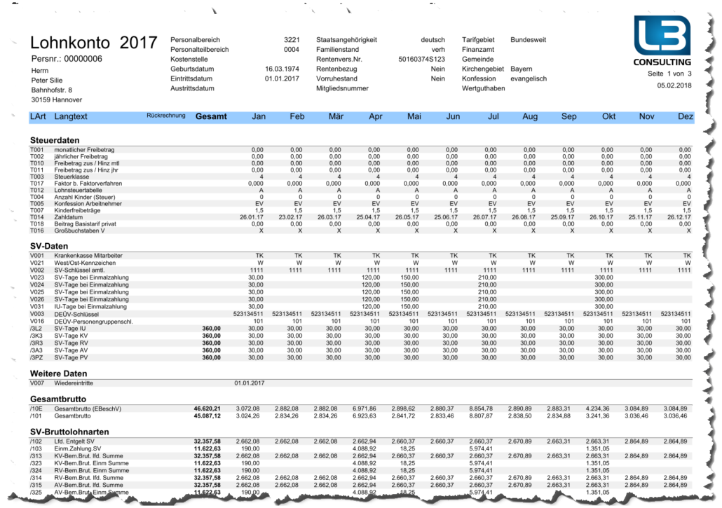 Lohnkonto als Adobe Druckformular im SAP HCM