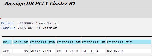 Cluster B1 - Tabelle VERSION