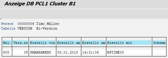 """Cluster B1 - Tabelle VERSION - mit noch leerer Spalte """"Schema"""""""