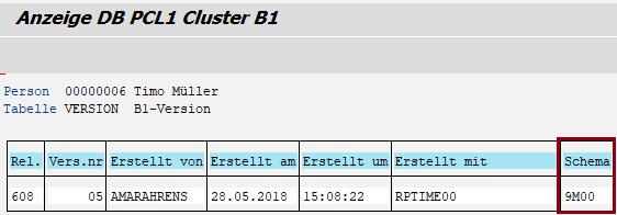 """Cluster B1 - Tabelle VERSION - mit gefüllter Spalte """"Schema"""""""