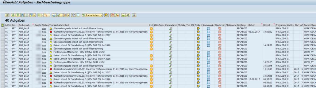 Notification Tool: Aufgabenübersicht der Sachbearbeitergruppe im Bereich 9PY