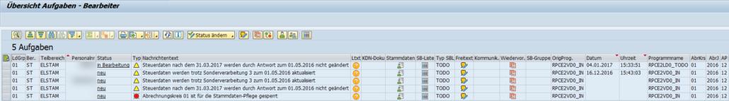 Notification Tool: Aufgabenübersicht des Benutzers im Bereich ELStAM