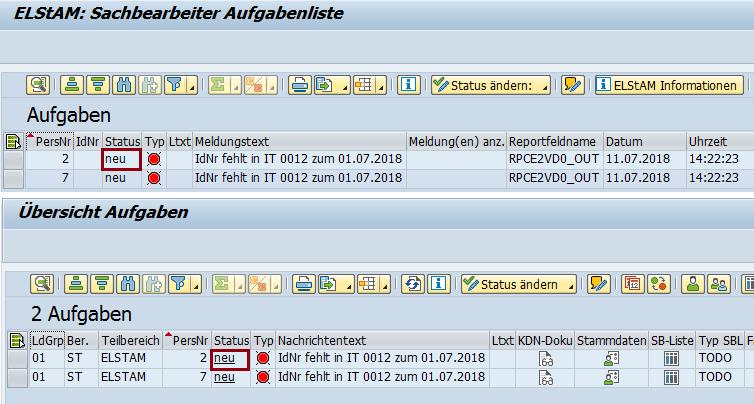 Notification Tool: Aufgabenliste ELStAM & NT vor der Statusänderung
