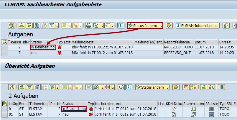 Notification Tool: Aufgabenliste ELStAM & NT nach der Statusänderung