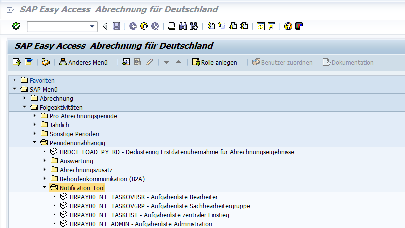 Das Notification Tool im SAP Easy Access Menü