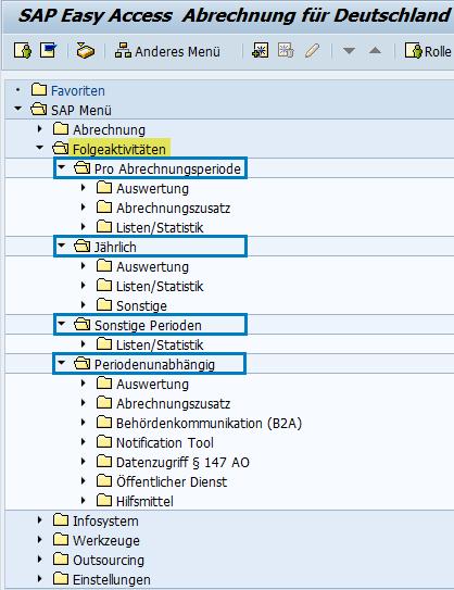 Folgeaktivitäten im SAP Easy Access Menü