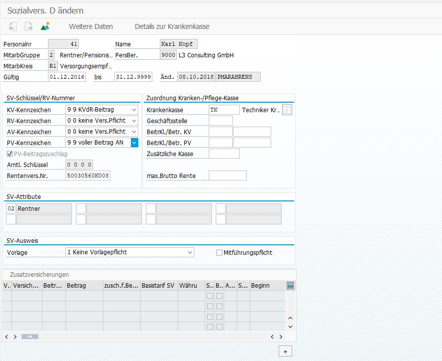 Nachzahlungen von Versorgungsbezügen: Infotyp 0013