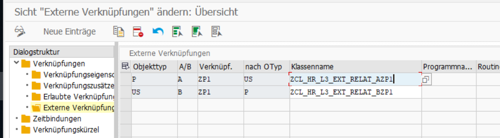 Customizing externe Verknüpfung in der Transaktion OOVK