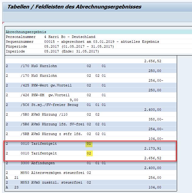 Tabelle RT im Abrechnungsergebnis mit AP- bzw. WPBP-Splitkennzeichen
