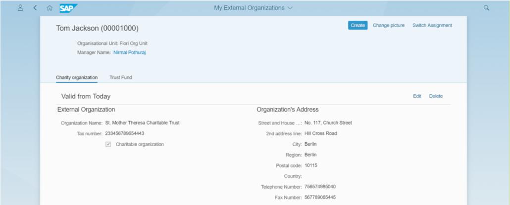 """Fiori-App """"Meine Externen Organisationen"""""""