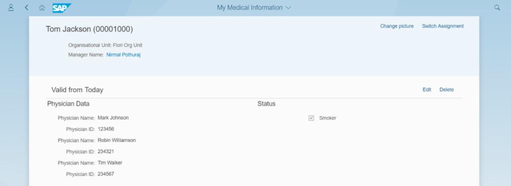 """Fiori-App """"Meine Medizinischen Informationen"""""""