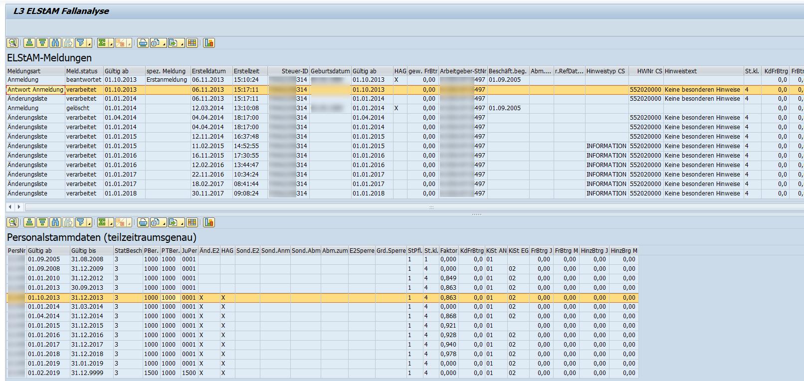L3 ELStAM Fallanalyse: Schneller Überblick über Meldungen und Stammdaten