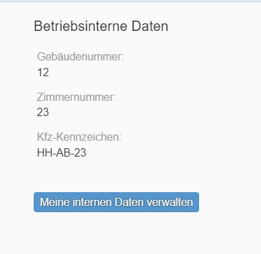 Mein Profil - Betriebsinterne Daten