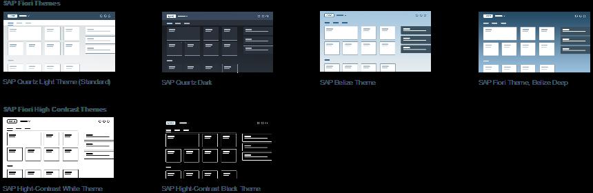 Darstellung Quartz Dark/Light/High-Contrast und SAP Belize