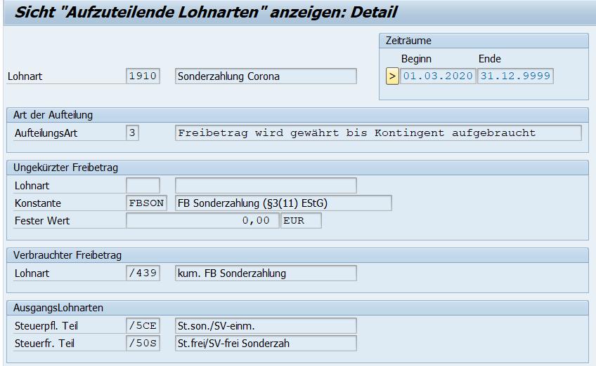 """Lohnartenaufteilung in T512C von der neuen Lohnart """"Sonderzahlung Corona"""""""