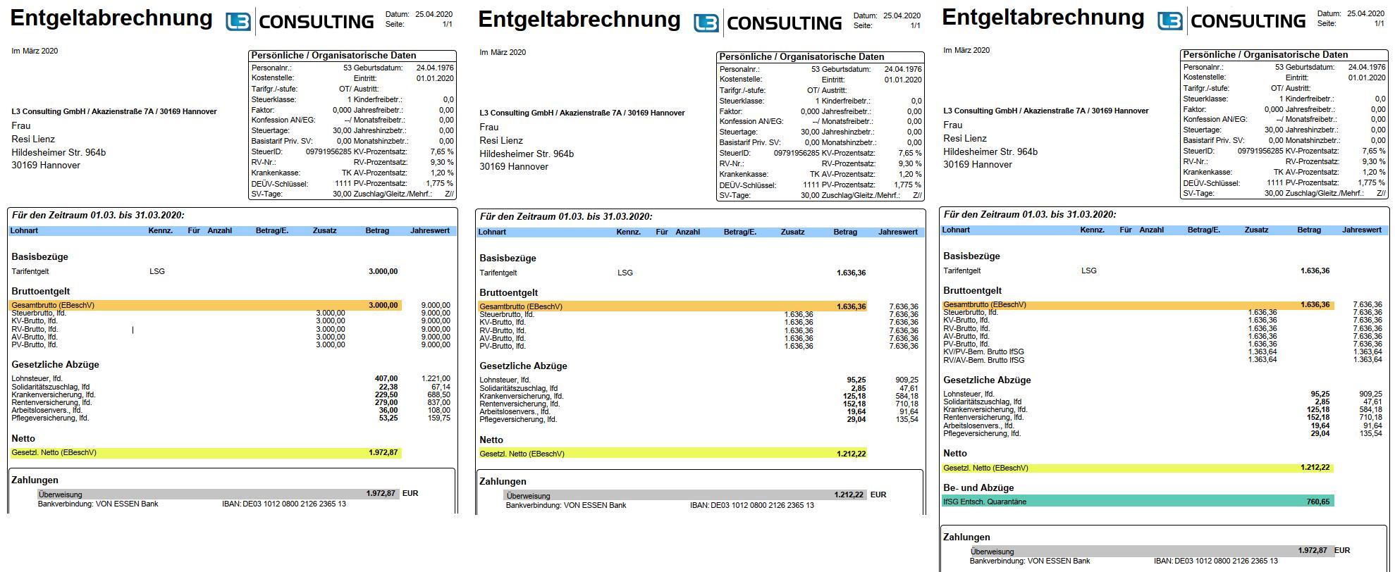 Beispiel-Entgeltnachweis mit untermonatiger Quarantäne nach dem IfSG im SAP HCM