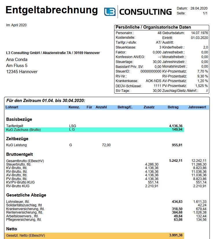 Beispiel: Entgeltabrechnung mit 15%-Zuschuss zum KUG ohne BBG-Begrenzung im SAP HCM
