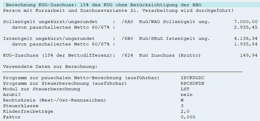 Berechnung des 15%-Zuschusses zum KUG ohne BBG-Begrenzung im SAP HCM