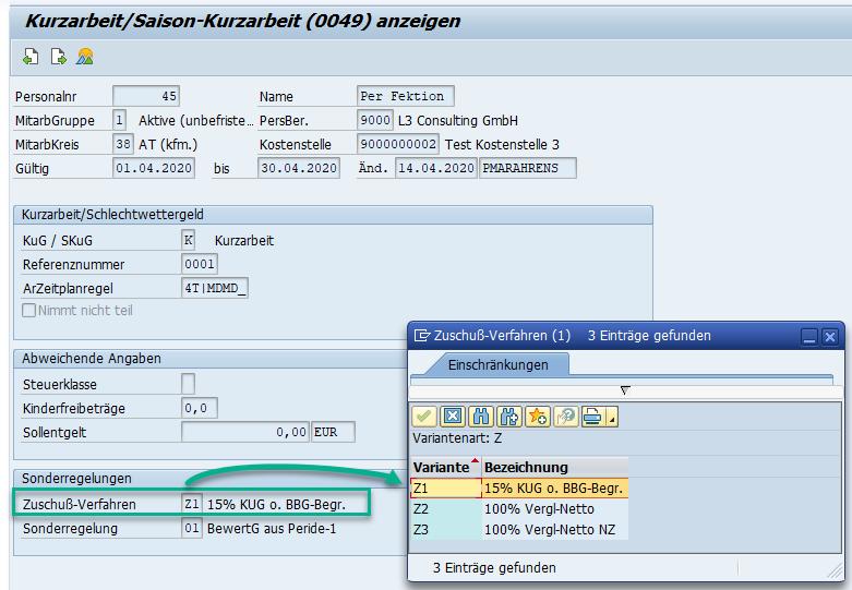 Kundeneigene KUG-Zuschuss-Varianten in Infotyp 0049 im SAP HCM