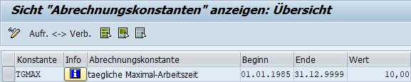 V_T511K: Konstante TGMAX für die maximale Arbeitszeit pro Tag in der Zeitwirtschaft im SAP HCM