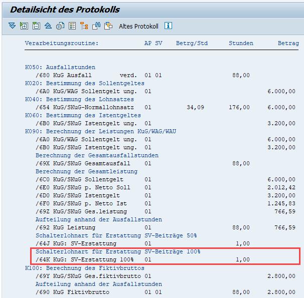 """""""Alte"""" Darstellung der pauschalierten SV-Erstattung in  Funktion DKUG KUGM im Abrechnungsprotokoll im SAP HCM"""
