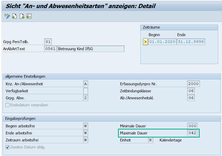 Kinderbetreuung nach dem IfSG: Customizing der Abwesenheit 0561 im SAP HCM