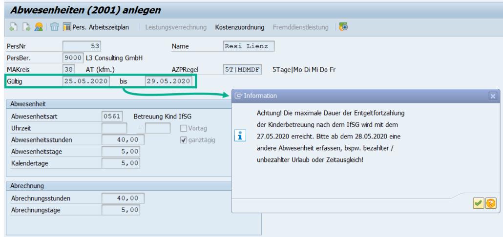 Kinderbetreuung nach dem IfSG: kundeneigene Prüfung auf Überschreiten der maximalen Dauer der Entgeltfortzahlung im SAP HCM