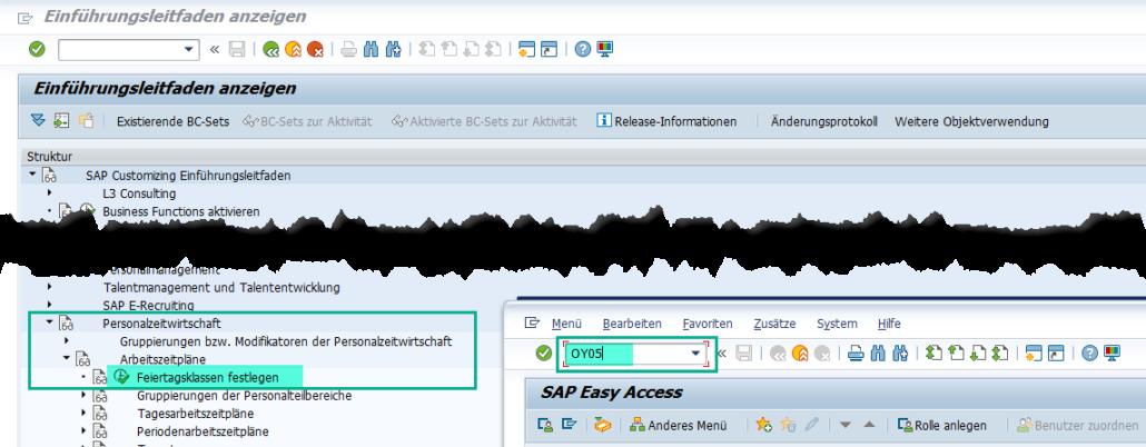 Aufruf Feiertagskalender-Pflege im SAP HCM via OY05 oder Einführungsleitfaden (SPRO)