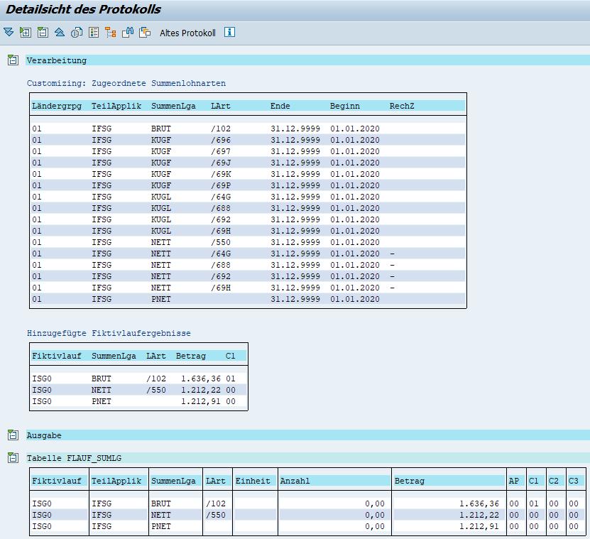 Übergebene Ergebnisse des Fiktivlaufs ISG0 bei Quarantäne im SAP HCM