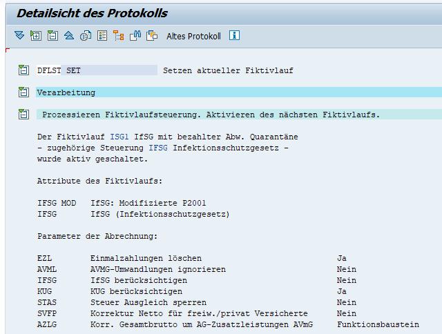 Aufruf/Setzen des Fiktivlaufs ISG1 bei Quarantäne im SAP HCM