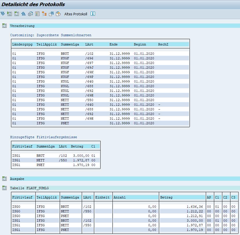 Übergebene Ergebnisse des Fiktivlaufs ISG1 bei Quarantäne im SAP HCM