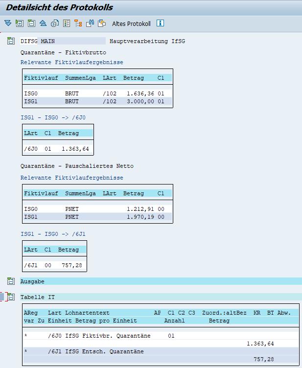 IfSG-Hauptroutine mit Berechnung von SV-Brutto-Erhöhung und Entschädigung bei Quarantäne im SAP HCM