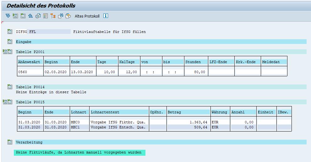 Vorgabelohnarten MHC0 und MHC1 deaktivieren die IfSG-Fiktivläufe im SAP HCM
