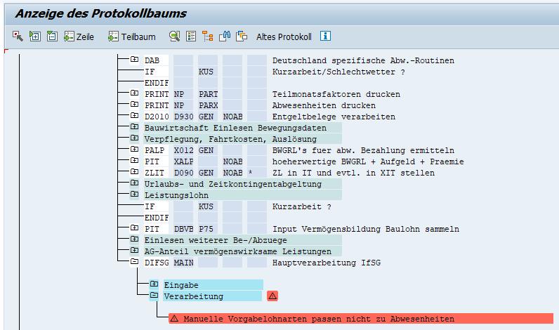 Fehlermeldung bei inkonsistenter Erfassung von Vorgabelohnarten und Abwesenheiten zum IfSG im SAP HCM