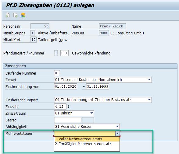 Angabe des Mehrwertsteuersatzes bei Pfändungen im Infotyp 0013 des SAP HCM