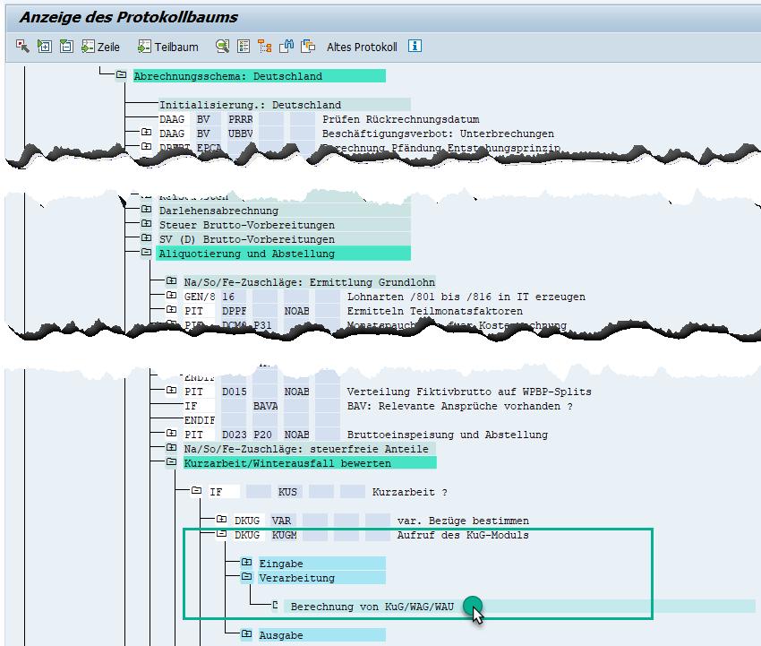Pauchale Netti für Nebeneinkommen / Hinzuverdienst im Protokoll des KuG-Moduls im SAP HCM prüfen