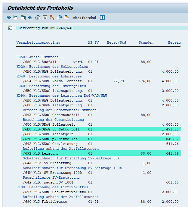 Pauchale Netti für Nebeneinkommen / Hinzuverdienst im Protokoll des KuG-Moduls im SAP HCM prüfen: Soll-/Ist-Entgelt
