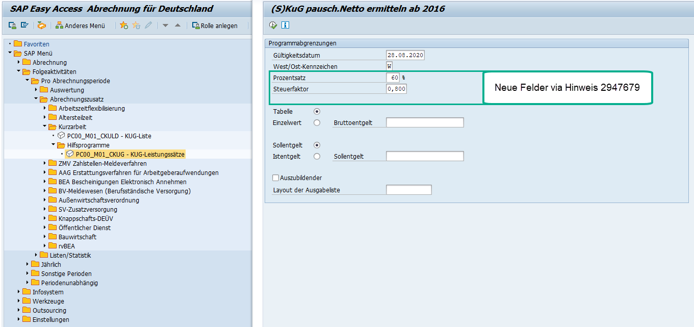 Report RPCKUGDC zur Ermittlung der KuG-Leistungssätze im SAP HCM: Selektionsbild