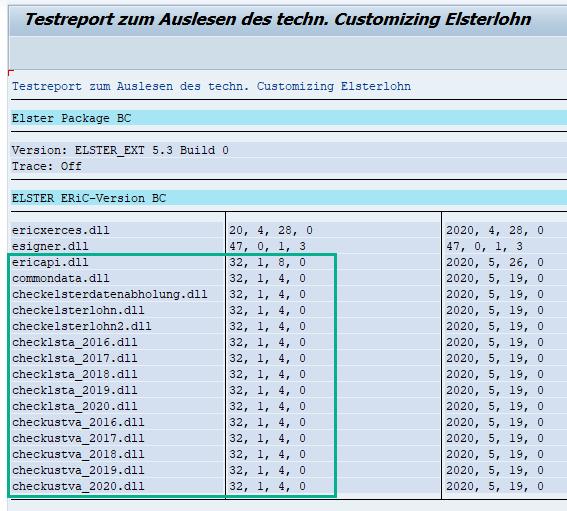 Anzeige der ERiC-Version im SAP HCM via RPUTX1D0 mit Middleware BC