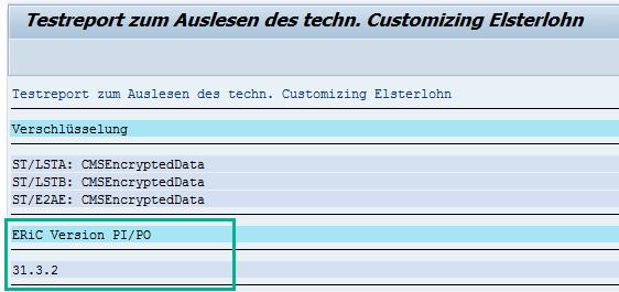 Anzeige der ERiC-Version im SAP HCM via RPUTX1D0 mit Middleware PI/PO