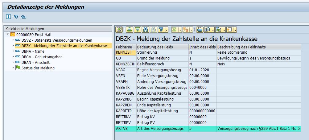 """Kennzeichen """"Art des Versorgungsbezugs"""" im Datenbaustein DBZK des Zahlstellenverfahrens im SAP HCM"""