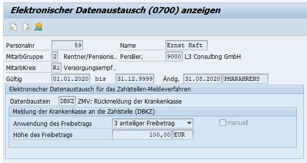 """Kennzeichen """"Anwendung"""" und """"Höhe des Freibetrags"""" im Subtyp DBZK des Infotyp 0700 im SAP HCM"""