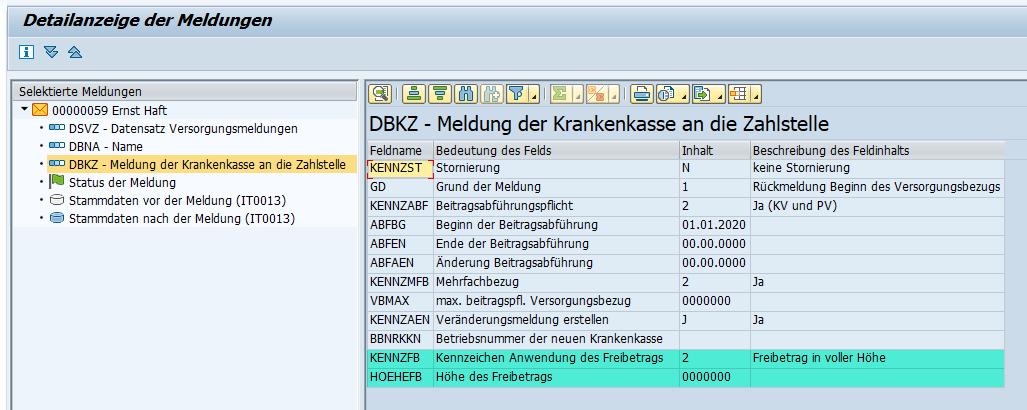 Kennzeichen und Höhe des Freibetrags im Datenbaustein DBZK des Zahlstellenverfahrens im SAP HCM