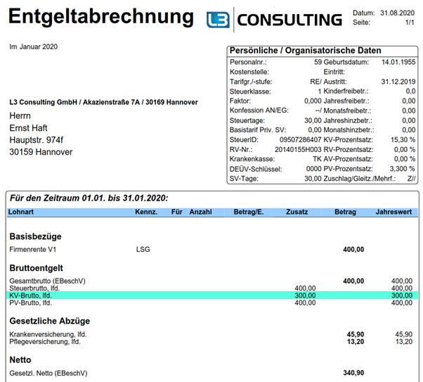 Anteiliger GKV-Freibetrag in der Entgeltabrechnung im SAP HCM