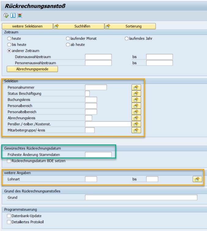 Rückrechnungsanstoß im SAP HCM via RPURRAD0 (Reporttransaktion PC00_M01_RPURRAD0)