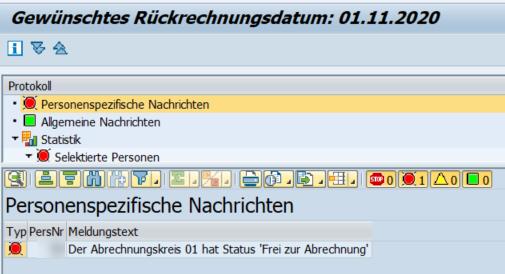"""Meldung im Protokoll: Fehlermeldung, da der Status des Abrechnungskreises nicht auf """"Frei zur Korrektur"""" steht"""