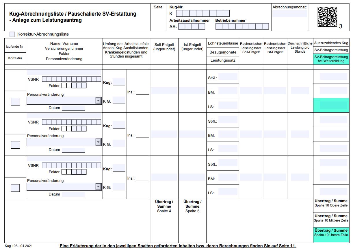 Abrechnungsliste Kurzarbeitergeld (KuG 108) der Arbeitsagentur Stand 04.2021 mit neuen Felder für pauschalierte SV-Beitragserstattung bei Weiterbildung