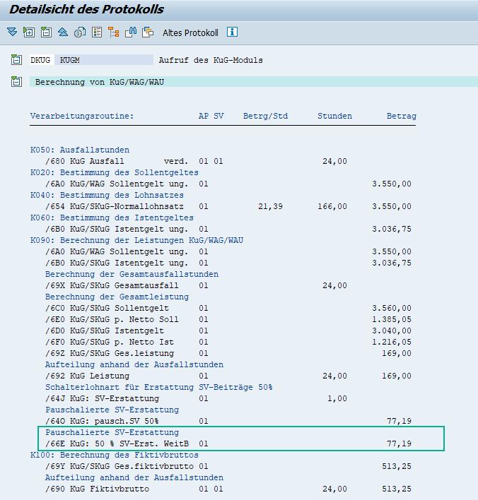 Berechnung der pauschalierten 50% SV-Erstattung bei Weiterbildung im Abrechnungsprotokoll/KuG-Modul des SAP HCM