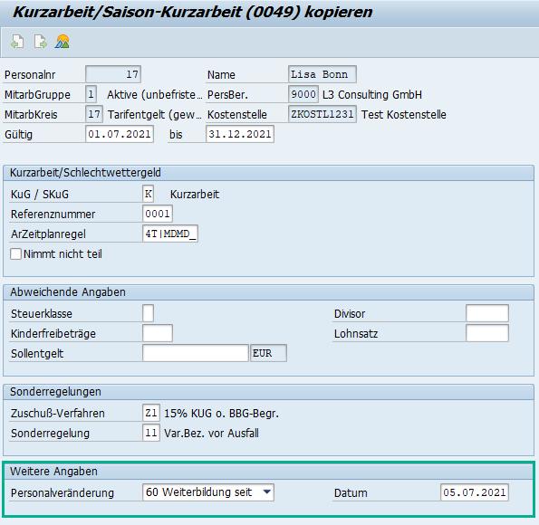 Erfassung der Weiterbildung bei Kurzarbeit im Infotyp 0049 des SAP HCM